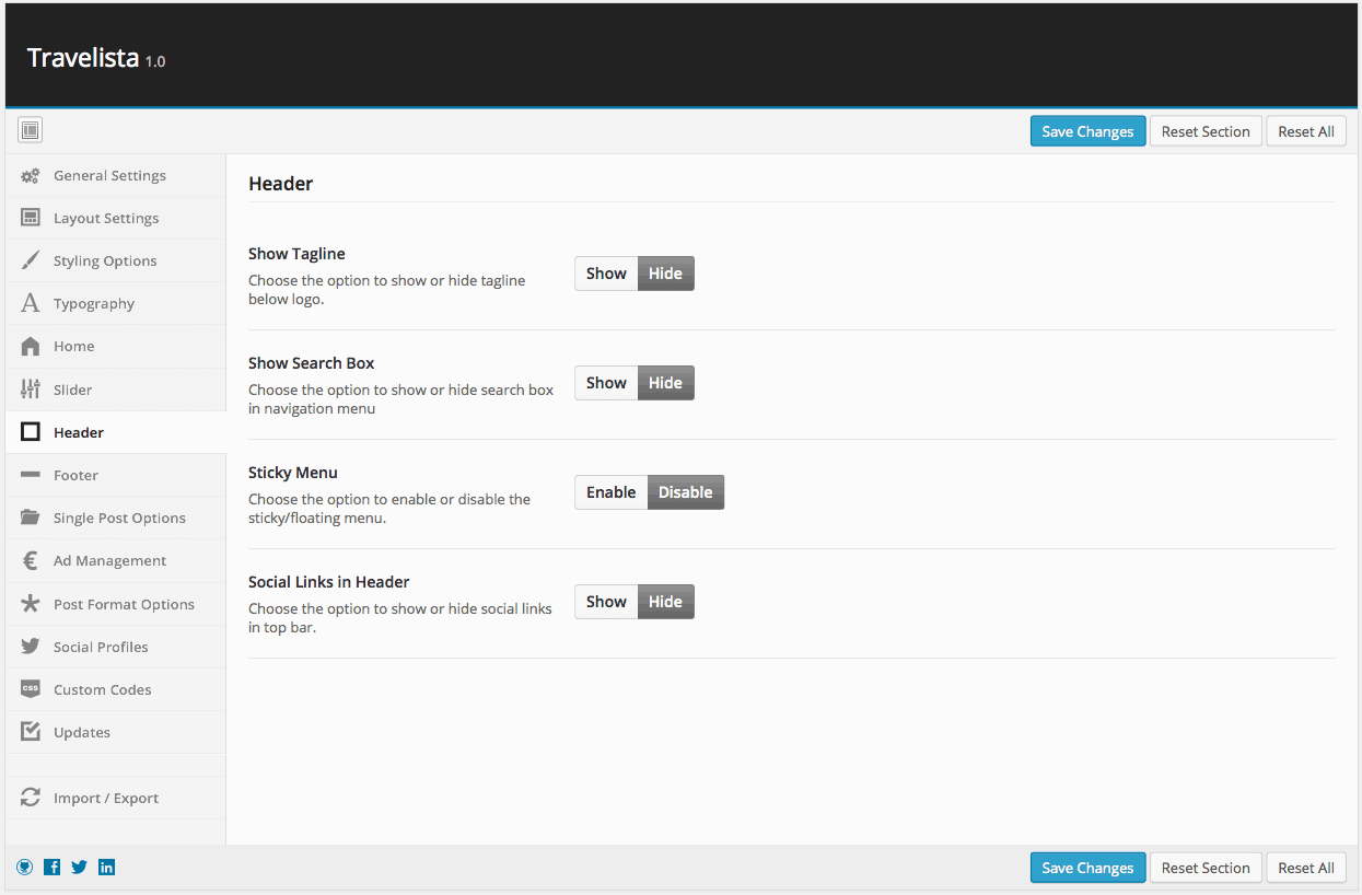 Theme Options ‹ Travelista — Header