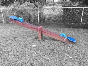 Teeter-totter at the playground.