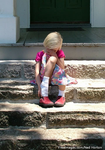 No comments equal sad girl on steps.